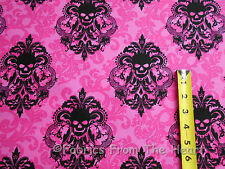 Gothic Damask Black Skulls on Fuchsia Pink BY Yards Michael Miller Cotton Fabric