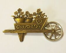 Vintage JJ Jonette Bronze Floral Wheelbarrow Brooch Silver-Tone Wheel that Spins