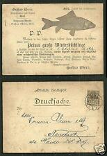 Kiel Gustav Ebers Fish Smokery Buckling Germany stamp 1891 !