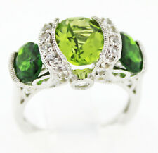 Item #904 Gem Insider ™ 3.18 Ctw. Peridot, Chrome Diopside Ring, Size 5 Sterling