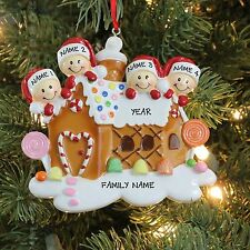 Gingerbread House Family of 4 Personalized Christmas Tree Ornament Holiday 2016