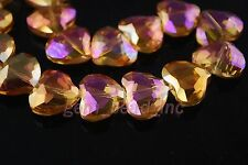 5pcs Gold Rose Glass Crystal Skew Heart Beads 20x16mm Spacer Jewelry Findings