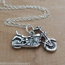 Motorcycle Necklace - 925 Sterling Silver - Motorcycle Charm Bike Rider Hog *NEW
