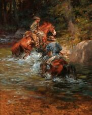 """HD Art Print Cowboys Oil painting Picture Printed on canvas 16""""x20"""" P154"""