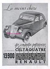 PUBLICITE AUTOMOBILE RENAULT CELTAQUATRE STANDARD 13.900 FRS DE 1935 FRENCH AD