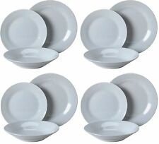 12Pc Dinner Set White Quality Porcelain Plates Bowls Service Family Dining Set