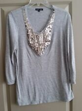 Boho Chic Soft Gray Tunic Silver Bead & Sequin Embellished Modal 3/4 Sleeves S