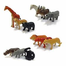 Set Of 12 Plastic Zoo Figure Jungle Wild Animals Childrens Toys Party Bag Favour