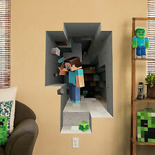 SALE! Minecraft Vinyl Wall Sticker 3D decal home  Steve Mining Bedroom Wallpaper