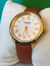 Kate Spade NY Crosstown Brown Leather Roman Numeral Gold Tone Watch KSW1063 NWT