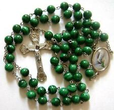 *REAL Natural Malachite ROSE BEADS ROSARY & Relic CROSS medal crucifix catholic
