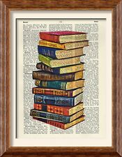 Art Print - Stack of Victorian Library Books - Antique Book Page