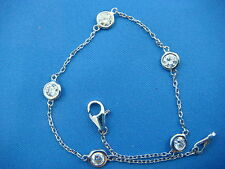 """1 CT """"DIAMONDS BY THE YARD"""" 5 LARGE STATIONS 14K WHITE GOLD LADIES BRACELET"""