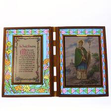 Vitrail double cadre avec un Bénédiction Irlandaise & St. Patrick image 18cm