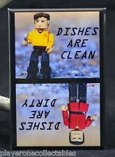 "Captain Kirk & Khan Clean/Dirty Dishwasher Magnet 2""x3"". Star Trek Minimates"