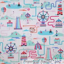 BonEful Fabric Cotton Quilt Girl Scout Circus Tent Pink Blue Boat Horse US SCRAP