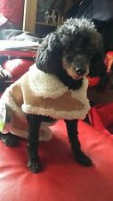 Pooch Couture faux brown sheepskin dogs jacket size small 28cm.