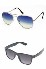 Combo of Blue Aviator Sunglasses and Black Wayfarer (Pack of 2) Free Shipping