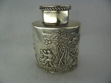 Rural Scene Sterling Solid Silver Tea Caddy Birmingham 1907