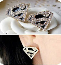 SUPERMAN EARRINGS Crystal Gems Gold Stud Funky Vintage Retro Movie Supergirl