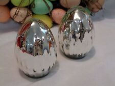 """SET OF 2 SILVER MERCURY TEXTURED GLASS EASTER SPRING EGGS DECOR 5"""" NEW"""