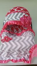 baby car seat cover canopy cover Blanket fit most infant seat hot pink flower