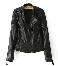 Hot new Women's jackets Short Slim motorcycle leather jacket coat