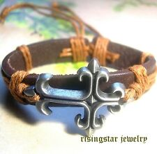 Men Women Trinity Cross Surfer Biker Character Leather Hip Bracelet Wristband