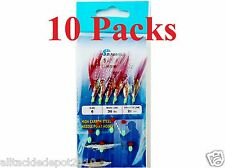 10 Packs Size #6 Sabiki Bait Rigs 6 Hooks Red Feather - 486