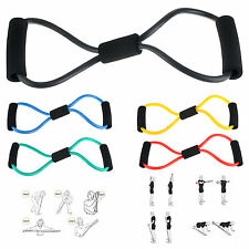 Sports Exercise Fitness Yoga 8 Shape Pull Rope Tube Equipment Tool Gym