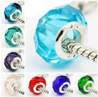 Murano Faceted Glass 925 Silver European Charm Beads Bracelet Necklace