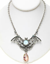 KIRKS FOLLY EMPRESS BAT SEAVIEW MOON and CRYSTAL NECKLACE st / sapphire ab