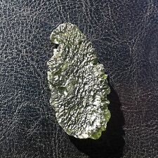 Fine Chlum Moldavite Specimen - Leaf-Shaped Drop - 39 Carats - Czech Republic