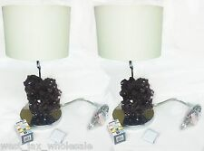 Cielo Amethyst Purple Rock Table Chrome Plated Lamp Light Creme Shade Set of 2