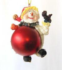 Christbaumschmuck Schneemann auf Weihnachtskugel Anhänger Baumschmuck