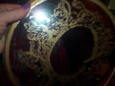 vintage round mirror gold painted design 45 YRS. on it yorkraft co. York PA 1971
