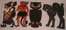 Antique Germany Halloween Embossed Devil/Witch/Owl/Black Cat DieCut