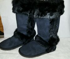 Women's tall winter black rabbit fur MukLuk Eskimo yeti boots sz 8