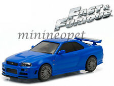 GREENLIGHT 86219 FAST AND FURIOUS BRIAN'S 2002 NISSAN SKYLINE GT-R 1/43 BLUE