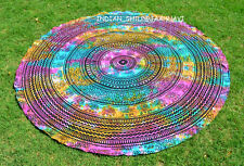 "Bohemian Beach Mandala 46"" Round Tapestry Hippie Throw Yoga Mat Towel Indian enh"
