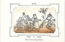 1863 FAMIGLIE DEI LAZZARONI litografia Pagnoni Napoli lazzari costumi