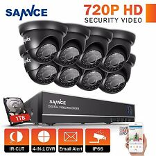 SANNCE 8CH HDMI DVR Video Surveillance Outdoor CCTV Security Camera System 1TB