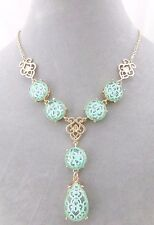 Gold Baroque Necklace With Green Acylic Fashion Jewelry NEW