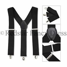 MENS 35MM WIDE ADJUSTABLE BRACES GENTS ELASTIC FANCY DRESS GANGSTER ACCESSORY