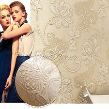 10M Embossed Textured 3D Non-woven Wallpaper Roll Living Room Bedroom Decoration