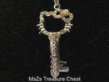 Metal Alloy HELLO KITTY KEY in Clear Crystals Pendant    ** New in Gift Box **