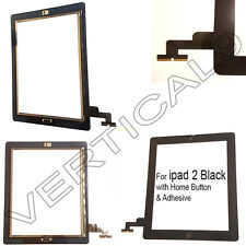 Per IPAD 2 NERO TOUCH SCREEN DIGITIZER VETRO ANTERIORE RICAMBIO pulsante HOME