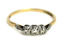 Vintage 18ct Gold Platinum Diamond Trilogy Ring | FREE SHIPPING Size W.5 / 11.5