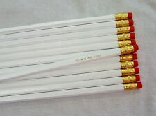 "24 Hexagon ""White w/Gold lettering"" Personalized Pencils"