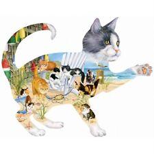 SUNSOUT SHAPED JIGSAW PUZZLE BEACH CATS JANET K. STILES 900 PCS